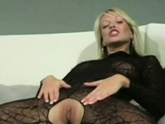 Sexy Blonde Fingers Herself In Lacey Pantyhose