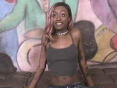 black skank zo lala gives a naked interview