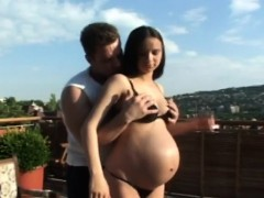outdoor screwing for pregnant brunette hottie