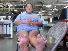 bbw latina shows feet at her job theda from dates25com