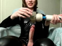 Big Long Dick Trans Cums In Latex