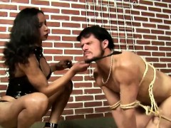Shemale Gives A Facial To His Slave