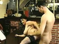 brunette-in-stockings-sucks-big-cock-and-fucks-it