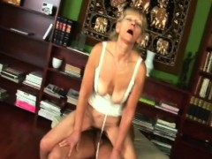 blonde granny inci gets vagina filled while riding