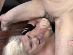 pool boy get penis sucked by horny blonde granny