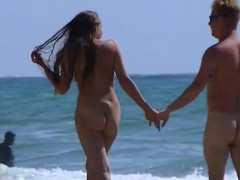 Amateur Nudist Beach Couple Walking Along The Beach