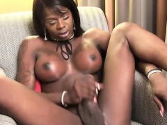 Busty Ebony Shemale Jerking Off Her Bbc