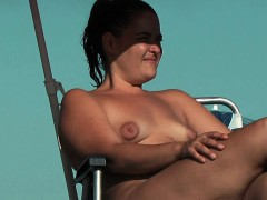 Stripped Breasty Honey Widens Legs At The Nudist Beach