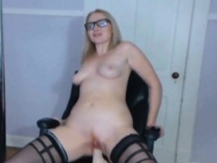 Blonde TheAlexaLondon with sexy glasses riding on dildo