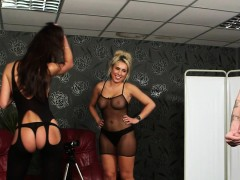 english voyeur babes humiliate man with joi