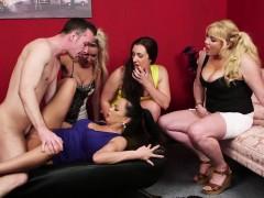 British Cfnm Milfs Dominate Sub Dick In Group