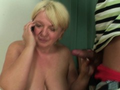 Horny busty blonde granny rides his cock