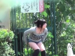 Asian Slut Squats To Pee