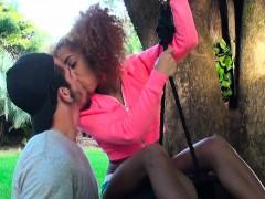 Ebony Banging On A Swinging Tyre