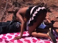 ebony slave with cute tits and hairy pussy getting fucked