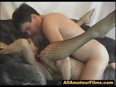 Hot Blonde Amateur In Fishnets Fucked