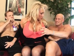 Busty Blonde Takes Two Hard Rods
