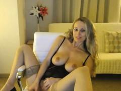 Blonde Milf In Dark Lingerie Masturbating