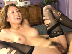 oriental hottie mounts massive dick and fucks until she squirts
