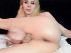 Blonde Tranny Has A Huge Dick Jerking
