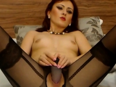 Redhead Bitch On Webcam Stabs Dildo In Her Horny Wet Pussy