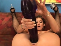 Busty Brunette Felony Cumming On Massive Brutal Dildos