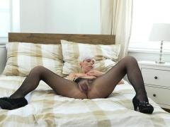 Euro Milf Kathy White Fingers Her Pussy In Nylon