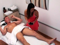 busty japanese masseuse tugging her client