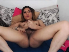 Horny Shemale Loves Playing Her Big Cock