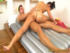slippery massage babe blowing