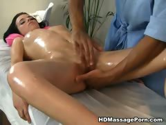 titted brunette doing erotic massage sexy