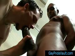 Thug Getting His Fat Gay Cock Sucked In The Bathroom