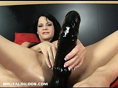 hungarian beauty aliz fills her vagina with a monster dildo