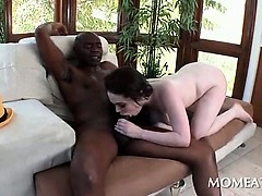 Brunette In Big Tits Barely Fitting Black Monster Dick In