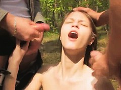 Amazing Teenager Threesome In The Car