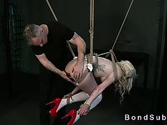 Tied Up Suspended Blonde Hottie Anal Hooked