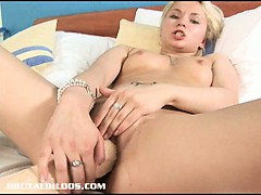 blonde russian fills her tight pussy with a monster brutal dildo