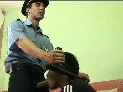 Sex frenzied Cop Stretches Hunky Convicts Ass
