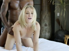 blacked blonde ash hollywood cheats with her big black cock trainer