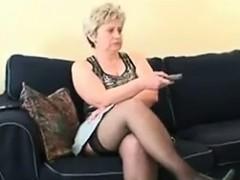 Chubby Mature Woman Wearing Stockings