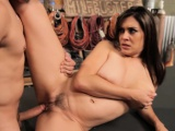 This big tits brunette MILF loves cock, and wastes no time