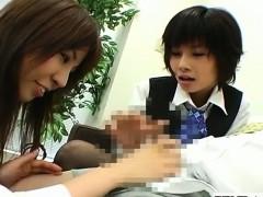 Japanese office Lady Femdom Threesome