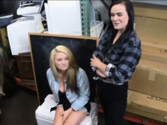 Sexy Lesbian Couple 3way With Pawnkeeper In The Backroom