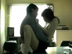 Asian Babe In A Threesome At The Office