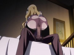 Blonde hentai maid with huge titties rides hard cock