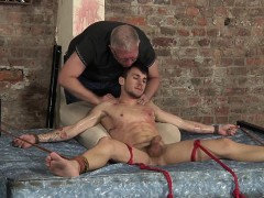 Tied And Ticklish Izan Gets A Lubed Handjob From Sebastian