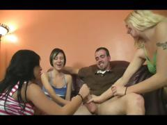 Three Jerky Girls Brings A Man To Ecstasy