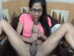 Nerdy Shemale Slurps Own Cock