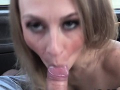 Wild Blonde Getting Big Cock In A Cab