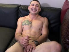Ripped Soldier Masturbating Before Cumshot